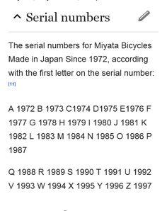 Image result for miyata serial numbers Numbers, Bicycle, Ads, Japan, Lettering, How To Make, Image, Bicycle Kick, Bike