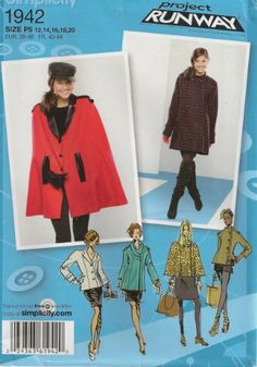 Simplicity Project Runway Collection Sewing Pattern 1942 Misses Coat Jacket and Cape, Size P5 (12-14-16-18-20) Simplicity Creative Group Inc - Patterns,http://www.amazon.com/dp/B005X18RI8/ref=cm_sw_r_pi_dp_XWA-sb0QY9PD7WK7