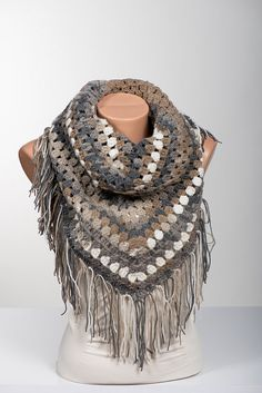 Crochet big scarf and shawl. Bohemian crochet wrap. Women winter wrap. Fall accessories.