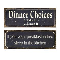 2 Piece Breakfast & Dinner Sign Set