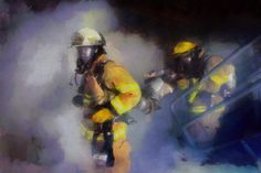 Firefighter Rescue Painting Fireman fdny nyc by ReburnDesigns