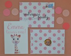 handpainted Sophie invitations - one year old birthday party by mossandmint.com