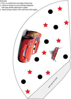 cars HAT Cars party hat, cup cake toppers, favor boxes etc printables-free Disney Cars Party, Disney Cars Birthday, Monster Birthday Parties, 2nd Birthday Parties, Car Birthday, Lightning Mcqueen Party, Car Themed Parties, Race Car Party, Car Themes