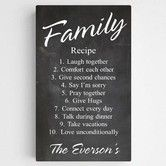 Personalized Family Recipe Canvas Sign- We all love the thought of healthy and cozy recipes.why not one for you and your family? This Personalized Family Recipe Sign is sure to be the recipe to live by for your everlasting love. Made of a quality Personalised Family Tree, Personalised Canvas, Personalized Wall Art, Personalized Products, Family Boards, Family Signs, Family Quotes, Recipe For Marriage, Chalkboard Canvas