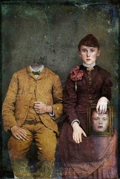 I chose this image because it makes me wonder if the lady without a head is dead and that's the beheaded man's wife who is still alive. I think the meaning behind this is fear and reality.