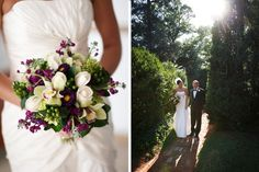 White, purple, and green wedding bouquet with hydrangeas, mums, dahlias, bells of Ireland, and succulents by Don's Florist/Rob Garland Photographers