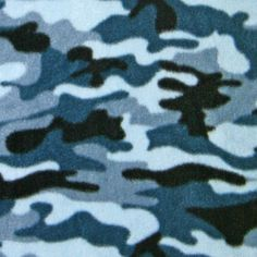 Blue Camouflage Fleece Fabric by the Yard