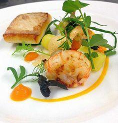 @cevatelat - Roasted halibut  langoustine,spiced carrot , sea plants , heritage potato #feedyoureyes July/Aug