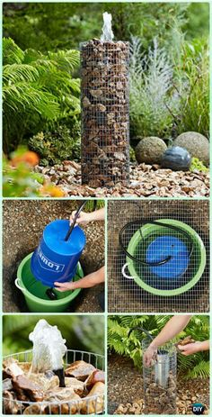 DIY Cage Wire Rock Fountain Instruction - DIY Fountain Landscaping Ideas & Projects garden Landscape design DIY Garden Fountain Landscaping Ideas & Projects with Instructions Rock Fountain, Diy Fountain, Fountain Design, Indoor Fountain, Diy Garden Fountains, Homemade Water Fountains, Yard Water Fountains, Outdoor Fountains, Ponds Backyard