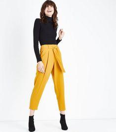 Mustard Yellow Tie Waist Trousers | New Look