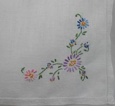 """White Linen Tablecloth Vintage Blue Pink Lavender Embroidery Luncheon Card Table Cloth 33.5"""" x 34"""", Wedding Holiday Party Linens by VintageBabyByKay on Etsy"""