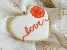 Heart Sugar Cookies Love Script Brushed Embroidery Flower  - 1 Dozen