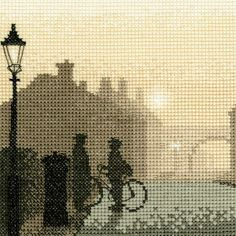 This First Post cross stitch kit by Heritage Crafts features the morning light starting to creep up with the postman out for his first round of the day. A wonderfully nostalgic kit, the silhouette design features a gentle sepia tone to create a dated look. Cross Stitching, Cross Stitch Embroidery, Cross Stitch Designs, Cross Stitch Patterns, Cross Stitch Silhouette, Heritage Crafts, Cross Stitch Pictures, Tapestry Crochet, Counted Cross Stitch Kits