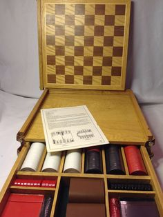 Vintage Deluxe Wood Game Set - Checkers Backgammon Poker Cards Dice NEW #Marlboro