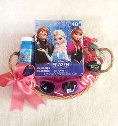 Frozen Princess Elsa Girls Gift Basket Fun Gift Set.  Frozen Puzzle.  Frozen sunglasses.  Candied Cherry Bubble Bath.  Bubbles.  Pink Swirl Lollipops.  FREE SHIPPING!