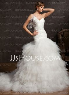Wedding Dresses - $256.99 - Ball-Gown One-Shoulder Court Train Taffeta Tulle Wedding Dresses With Ruffle Lace Feather Flower(s) Sequins (002015160) http://jjshouse.com/Ball-Gown-One-Shoulder-Court-Train-Taffeta-Tulle-Wedding-Dresses-With-Ruffle-Lace-Feather-Flower-S-Sequins-002015160-g15160