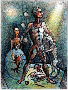 "Victor Shmokhin. ""Клоун обнимающий собаку"" 2011г. Бумага /шариковая ручка, цветной карандаш. 19,9х14,7 (№4,145)"