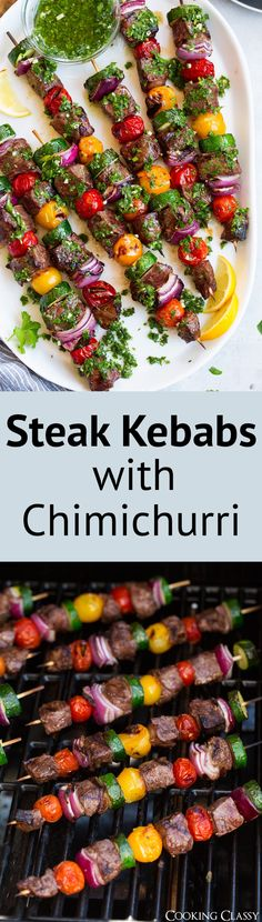 Steak Kebabs with Chimichurri - Cooking Classy