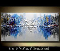 Original pintura abstracta, pintura moderna textura, empastes paisaje texturado espátula pintura moderna, pintura sobre lienzo byChen Tamaño: 24 x48 x1.2 [60x120x3cm] Estirar espesor: 1.2(3cm) Enmarcado / estirar (aliste para colgar) Las partes están libr