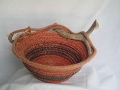 Upcycled handmade lasso rope basket with deer antler. DancingBug@Etsy.