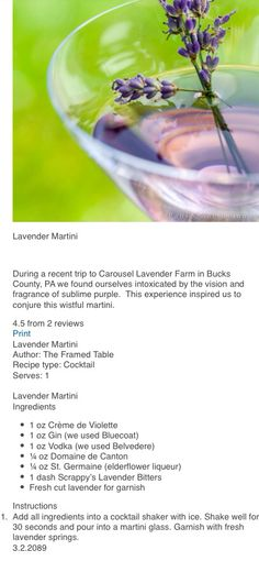 Lavender Martini Recipe: would LOVE to try this!