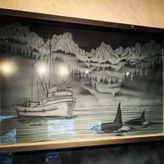 Custom sandblasted feature panel Etched Glass, Glass Etching, Vancouver Island, Custom Design, Studio, Interior, Artwork, Work Of Art, Auguste Rodin Artwork