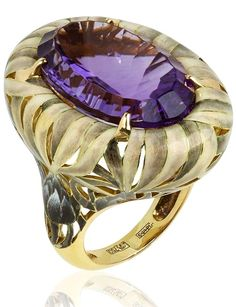Ilgiz for Annoushka Burdock ring in yellow gold featuring a 19.25ct amethyst nestled amongst enamel thistle branches