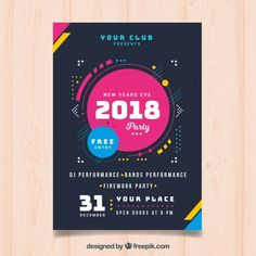 Modern poster of new year 2018 Vector Event Poster Design, Creative Poster Design, Graphic Design Posters, Flyer Design, Poster Designs, Graphic Designers, Web Design, Bora Lim, Teachers Day Poster