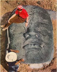 archaeology, the occupation where sitting on a giant face's eyebrow is just another part of the day.