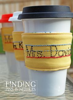 Finding Pins and Needles: Personalized Pencil Drink Sleeve Great 'teacher appreciation' gift.If I ever learn to sew! Cute Gifts, Diy Gifts, Handmade Teacher Gifts, Homemade Gifts For Teachers, Gift Crafts, Awesome Gifts, Personalized Pencils, Personalized Gifts, Coffee Sleeve