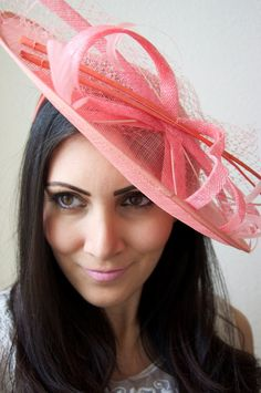 Coral Fascinator Hat -