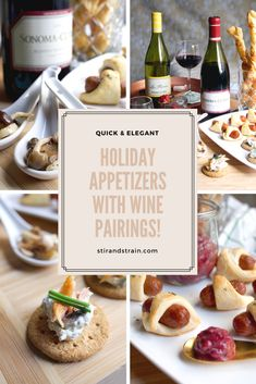 What type of holiday appetizer are you? The classic appetizer person, fun appetizer person, bold appetizer person, or casual appetizer person? Here\'s 4 appetizers with wine pairings for the perfect holiday party! // stirandstrain.com #stirandstraindrinks #entertaining #wine #appetizers