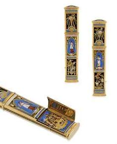 SWISS. A FINE AND RARE 18K GOLD AND ENAMEL SEALING WAX CASE WITH CONCEALED AUTOMATON, MADE FOR THE CHINESE MARKET | UNSIGNED, CIRCA 1820 |
