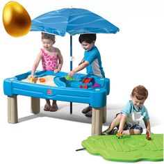 Cascading Cove Sand & Water Table with Umbrella Kids Sand & Water Play Table with Umbrella Accessory Set Included, Green