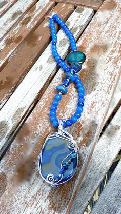 Bottomless Lake Blue Long Pendant Necklace, statement, beaded, silver plated, lapis, Czech crystal, wire wrapped, - pinned by pin4etsy.com