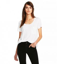 Crew Neck MicroModal Tee with Pocket