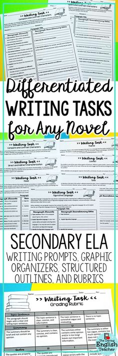 These differentiated writing tasks are great for literary analysis and they work with any novel. Includes prompts, organizers, and EL differentiation for theme, tone, mood, figurative language, characterization, and more!