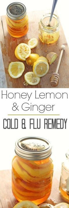 A simple homemade cold and flu remedy of Honey Lemon & Jar infused together in a jar
