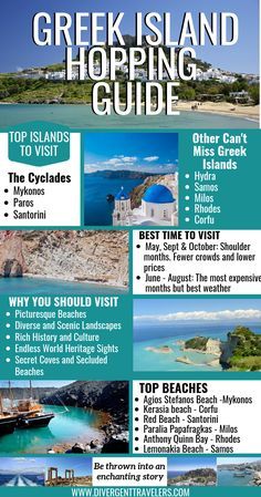 Greek Island Hopping Itinerary: History Meets Paradise - - Plan the perfect Greek Island Hopping itinerary. This guide features the best islands, how to get to them and what to do during your visit. Top Greek Islands, Greek Islands To Visit, Greek Island Hopping, Greece Islands, Greek Islands Vacation, Greece Vacation, Greece Travel, Greece Honeymoon, Greece Trip