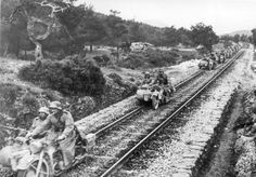 German soldiers on motorcycles and sidecars riding the rails in Greece, - pin by Paolo Marzioli Cycle Pictures, Ww2 Pictures, Military Pictures, Historical Pictures, Germany Ww2, German Army, Luftwaffe, Military History, World War Two
