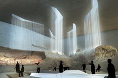 Lascaux IV International Cave Painting Centre by Snohetta, Duncan Lewis & Casson Mann. Image of the competition-winning proposal by Snøhetta, Duncan Lewis and Casson Mann for a visitor complex at the Paleolithic cave paintings in Lascaux, France. Museum Exhibition Design, Exhibition Space, Design Museum, Art Museum, Museum Poster, History Museum, Art History, Museum Architecture, Architecture Magazines