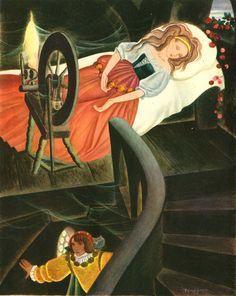 Sleeping Beauty illustration by Gustaf Tenggren Beauty Illustration, Children's Book Illustration, Book Illustrations, Sleeping Beauty Art, Fable, Briar Rose, Fairytale Art, Fantasy Art, Fairy Tales
