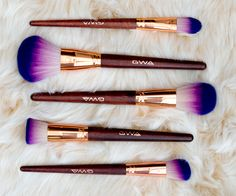 What Fairytales Are Made Of...Cruelty-free makeup brushes by GWA London. Super-soft purple ombre and rose gold makeup brushes, available individually or as a set. #gwalondon