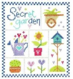 """Secret Garden (CSKSG54) Contemporary floral cross stitch kit designed by The Stitching Shed. Contents: 14 count aida fabric, anchor threads, needle, chart and full instructions. Size: 6.5"""" x 7"""". RRP £16.00 *Usually dispatched within 5 working days*"""