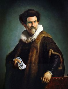 Rembrant + Will Ferrell= humorous art for the man cave