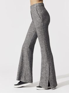 Maddux Jersey Boot Leg Pants in Heather Grey by Twenty from Skirt Pants, Trouser Pants, Grey Pants, Slacks, Grey Fashion, Fashion Pants, Fashion Outfits, Teen Girl Shoes, Fashionable Snow Boots