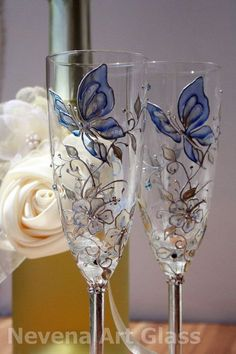 Butterfly Wedding, Champagne Glasses, Hand Painted in Aqua Blue Silver Cream Decorated with Swarovski Crystals Decorated Wine Glasses, Hand Painted Wine Glasses, Wine Glass Crafts, Wine Bottle Crafts, Wedding Glasses, Champagne Glasses, Bottle Painting, Bottle Art, Glass Painting Designs