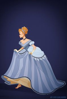 """I went with the mid 1860s for Cinderella's dress, the transitory period where the cage crinoline takes on a more elliptical shape and moves towards the back. Not that it accounts for Lady Tremaine's sweet 1890s getup, but it's also not unheard of to see it worn alongside Anastasia and Drizella's early bustle dresses. It's also worth noting that it was made by a fairy godmother, so it makes sense that her tastes would be a little behind the times."""