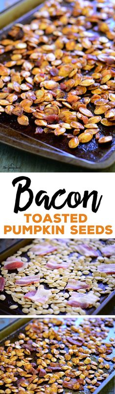 This crave-worthy Bacon Roasted Pumpkin Seeds recipe makes the best toasted pumpkin seeds EVER! Everyone will love this easy snack or appetizer with bacon!