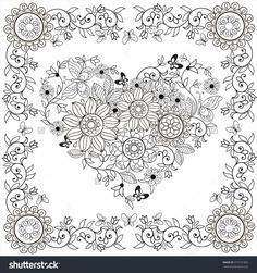 Coloring Book Decorative Heart Of Flowers And Butterflies In Floral Frame.Vector Illustration. - 373191892 : Shutterstock